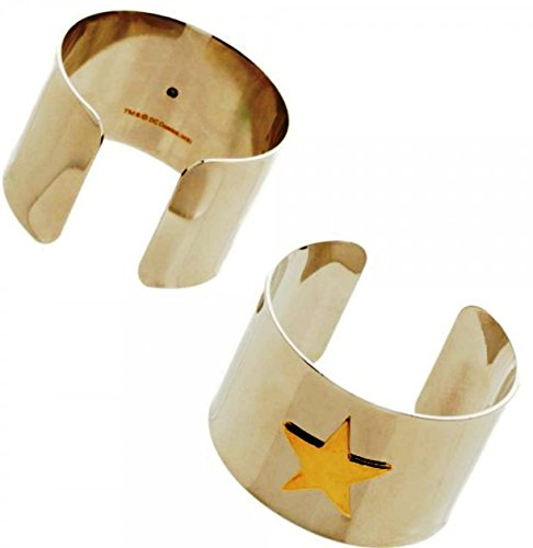 Wonder Woman Set of 2 Star Logo Silver Cuff Bracelets DC Comics (Wonder Woman Cuff Bracelet)
