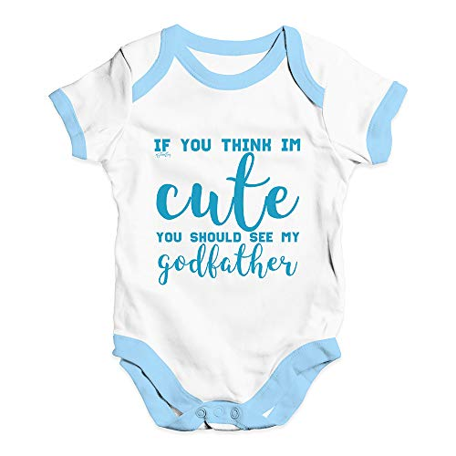 TWISTED ENVY Babygrow Baby Romper If You Think I'm Cute See My Godfather White Blue Trim 0-3 Months from TWISTED ENVY