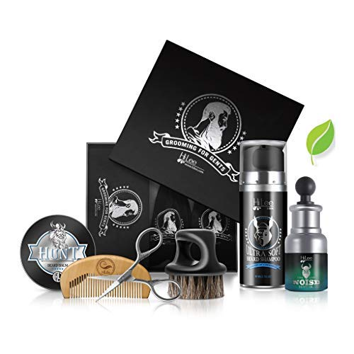HiLée Elite Beard Growth Kit- Elegant Beard Care and Grooming Set in Gift Package. Natural and organic ingredients Gentleman's Beard Oil, Beard shampoo Beard Balm Hunt, Beard Comb, scissors and brush