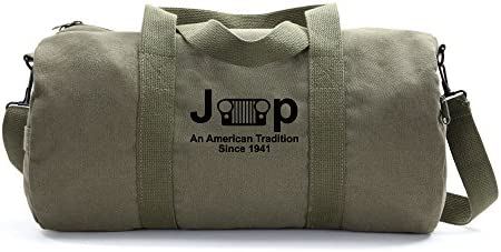 Jeep An American Tredition Army Sport Heavyweight Canvas Duffel Bag in Olive Black, Large