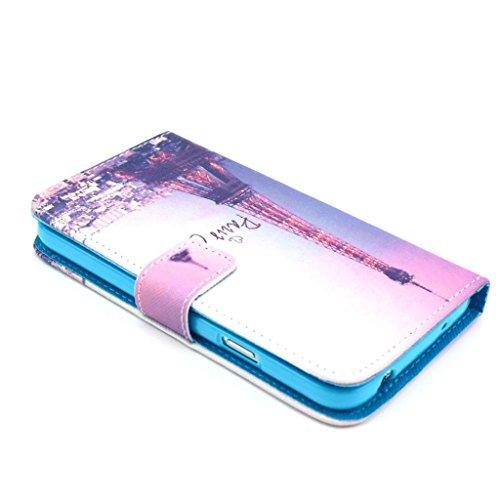 Uming Retro Colorful La caja del teléfono Funda protectora del patrón de la impresión del cuero de colores para Samsung Galaxy I8190 8190 S3mini mini PU del tirón Funda de cuero con soporte Stander de Tower City View
