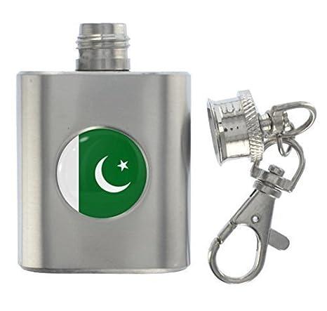 1StopShops Pakistán Bandera Metal Miniatura Petaca Llavero ...