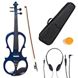 Cecilio L4/4CEVN-L1BL Left-Handed Solid Wood Blue Metallic Electric Violin with Ebony Fittings in Style 1 (Full Size)