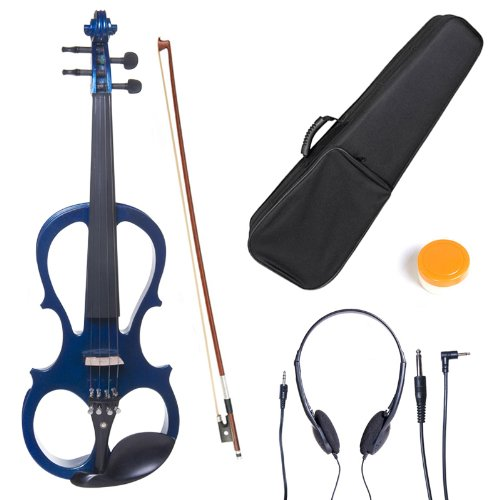 Cecilio L3/4CEVN-L1BL Left-Handed Solid Wood Blue Metallic Electric Violin with Ebony Fittings in Style 1 by Cecilio