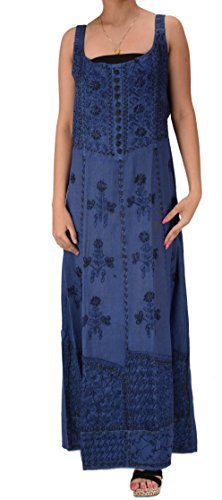SNS Women New Embroidered Blend Cotton Adjustable Elastic Long Dress (Blue)