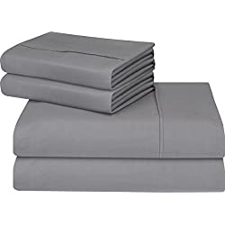 Utopia Bedding Soft Brushed Microfiber Wrinkle Fade and Stain Resistant 4-Piece Queen Bed Sheet Set – Grey