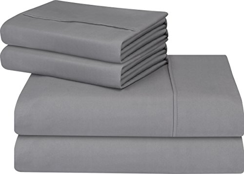 Utopia Bedding Premium 4 Piece Bed Sheet Set (Full, Grey) 1 Flat Sheet 1 Fitted Sheet and 2 Pillow Cases - Brushed Velvety Microfiber - Luxurious and Extremely Durable