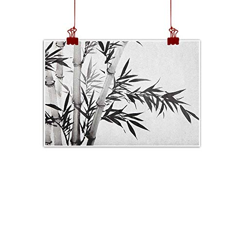 warmfamily Canvas Wall Art Bamboo,Bamboo Tree Image Traditional Chinese Calligraphy Style Asian Culture Theme, Charcoal Grey White 36