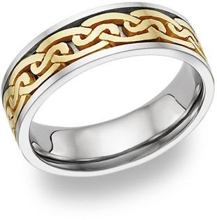 950 Platinum & 18k Gold Two Tone Celtic 4019 Wedding Band - Size 13