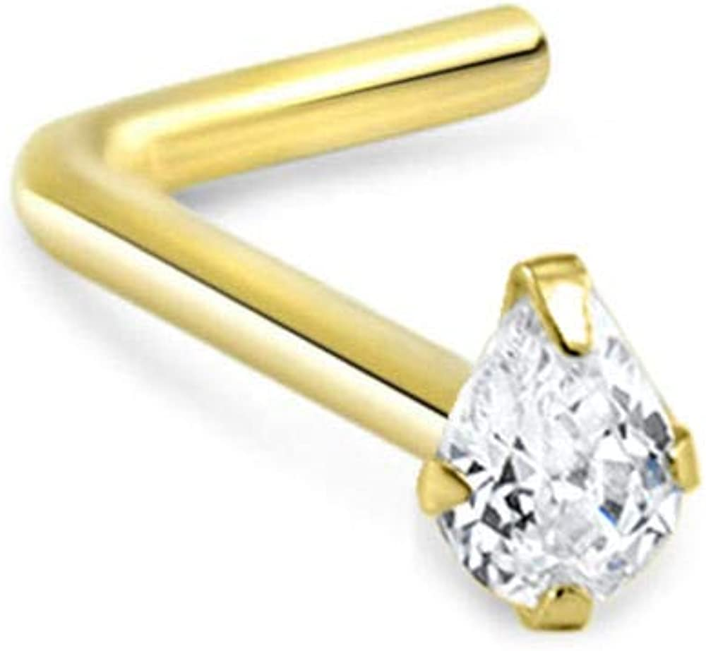 14k Solid Yellow Gold Nose Ring, Stud, Nose Screw, L Bend, Nose Bone Pear CZ 22G 20G or 18G