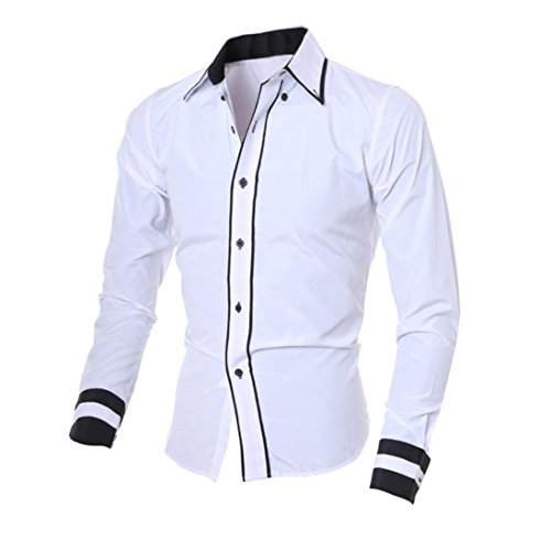 - ZYooh Premium Men's Long Sleeves,Fashion Printing Business Casual Lattice Dress Shirt Blouse (L, White)