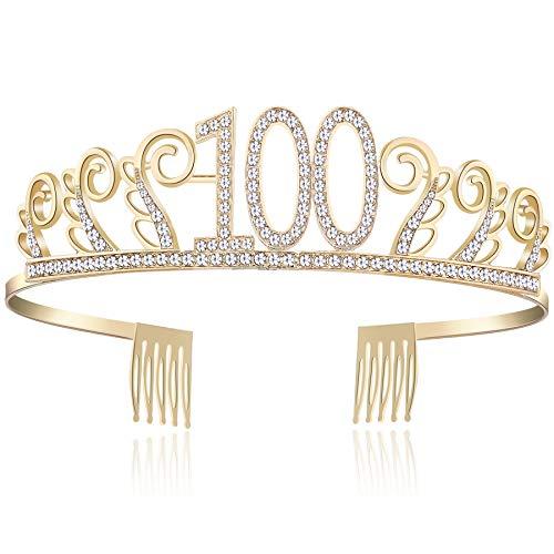 (BABEYOND Crystal Birthday Tiara Rhinestone Princess Crown Happy Birthday Crowns Silver Diamante Happy 18/20/21/30/40/50/60/90th Birthday (Gold-100th))