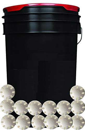 Collectible Supplies Black 6-Gallon Padded Ball Bucket with 30 Wiffle Balls for Practice