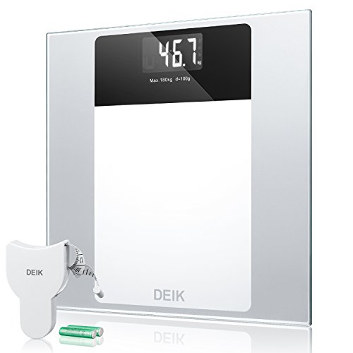 Deik Digital Body Weight Bathroom Scale with Step-On Technology Large LCD Backlight Display, 400 Pounds Tempered Glass Scale with Free Body Tape Measure and 2X 1.5V AAA Batteries by Deik