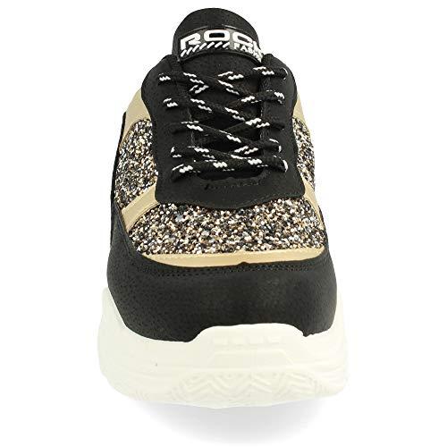 el de Sneaker y Detalles en Blanco cordoneras Purpurina y Texturizado Negro con y Piso Metalizados Redondas aaxvr4w56n