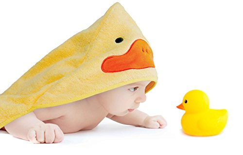 Hooded Bath Towel and Rubber Ducky Set, Newborn Baby To Toddlers, Boys and Girls -