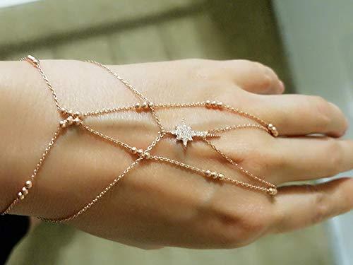 Zircon North Star Slave Bracelet Hand Chain 925 Sterling ()