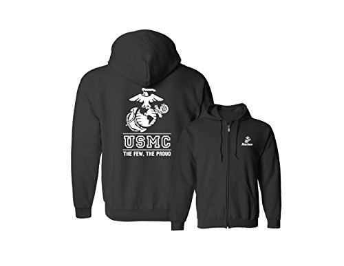 Lucky Ride USMC Logo Hooded Sweatshirt (Full Zip) Hoodie The Few The Proud, Black, M