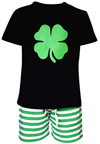 [Unique Baby Boys 2 Piece ST Patricks Day Clover Outfit (2t, Green)] (Toddler Boy St Patricks Day Outfit)