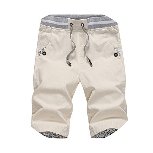 - Summer Solid Casual Shorts Men Cargo Shorts Beach Shorts,180 Beige,XL