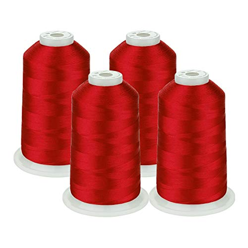 Simthread 42 Options Various Assorted Color Packs of Polyester Embroidery Machine Thread Huge Spool 5000M for All Embroidery Machines (4 Red) (Red Thread Embroidery)