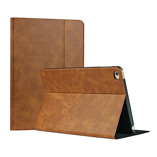 iPad Air 2 Cases, iPad Air 2 cover, Valkit top best slim thin stand flip folio protective smart PU leather case cover for Apple iPad Air 2 accessories skin bag with sleeping function, Brown (Top Ipad Air 2 Cases compare prices)