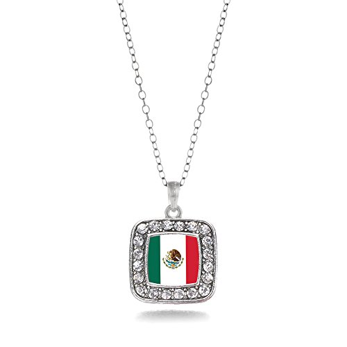 Inspired Silver - Mexican Flag Charm Necklace for Women - Silver Square Charm 18 Inch Necklace with Cubic Zirconia Jewelry