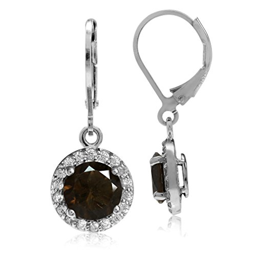 Cut Smoky Quartz Drop Earrings (2.22ct. 7MM Natural Round Shape Smoky Quartz 925 Sterling Silver Halo Leverback Earrings)