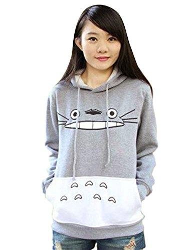 Kize Women Casual Hooded Cartoon Patchwork Pullover Hoodie Plus Size Sweatshirt