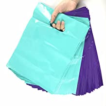 SES.CO 9X12-Inch Premium Plastic Die-cut Boutique Merchandise Shopping Bags Teal & Purple Small Gift Bags,2.4 Mil,Packed 100 per Case