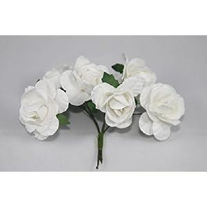 """Mini Rose Bulk Paper Flowers 0.5"""" White (144 Stems) 26"""