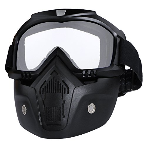 - Motorcycle Helmet Riding Goggles Glasses with Removable Face Mask Detachable Fog-proof Warm Goggles Mouth Filter Adjustable Non-slip Strap Vintage Bullet Fight Motocross (White)