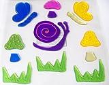 Spring or Summer Reusable Gel Window Clings ~ Snails, Butterflies, Mushrooms, Grass (15 Clings, 1 Sheet)