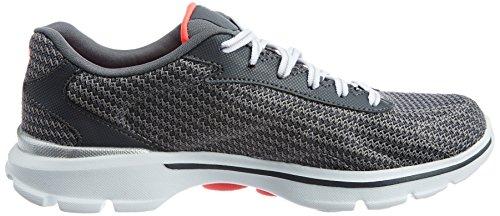Skechers Go Walk 3 Fit Knit Women's Low-Top Sneakers Grey (Char) Oycvxi