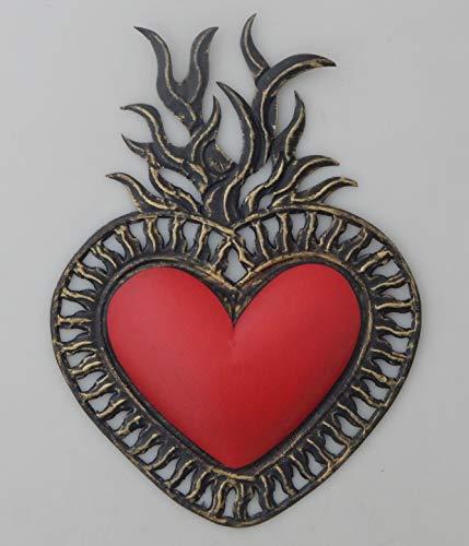 Folk Art Tin - Color y Tradicion Mexican Tin Heart Wall Hanging Folk Art Handmade Flaming Heart # 105