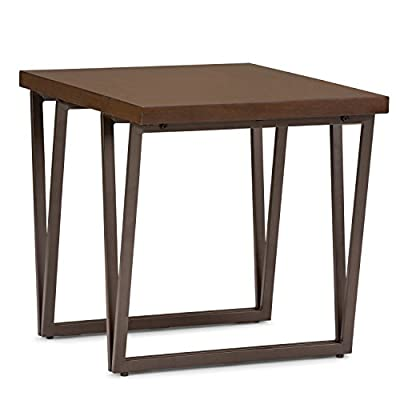 Simpli Home Ryder Solid Wood End Table, Aged Brown - Finished with a Natural Aged Brown stain and protective NC lacquer Constructed using solid pine, metal Powder coated graphite grey V design metal base and legs - living-room-furniture, living-room, end-tables - 41tBwxWbW2L. SS400  -