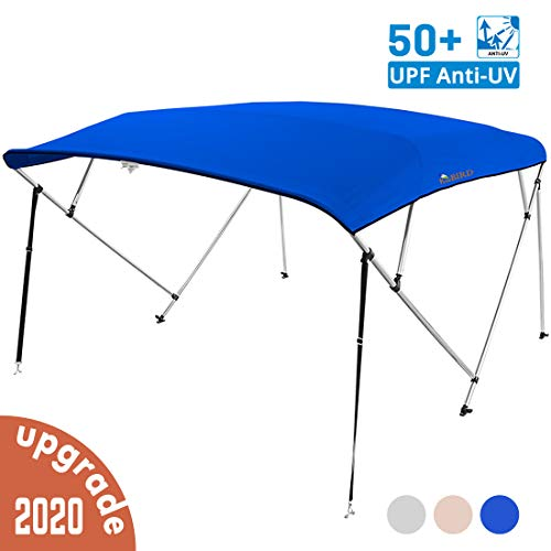 KING BIRD 4 Bow Bimini Boat Top Cover Sun Shade Boat Canopy Waterproof 1 Inch Stainless Aluminum Frame 54 Height with Rear Support Poles and Storage Boot (Royal Blue, 73-78)