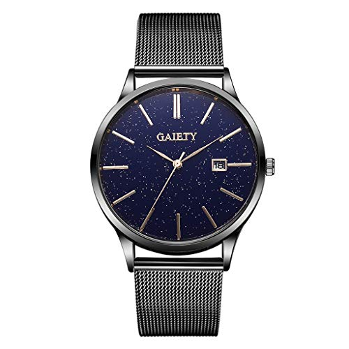 (Pengy Men Business Watch Casual Starry Sky Simple Calendar Business Net with Strap Male Watch)