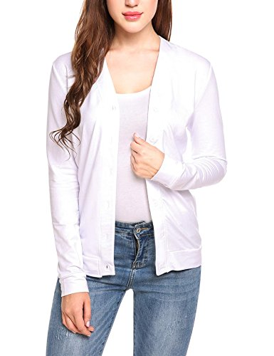 ELESOL Women's V Neck Button Down Long Sleeve Basic Soft Knit Cardigan Sweater
