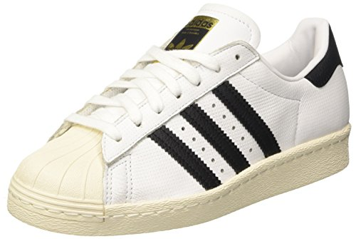 adidas Superstar 80s, Chaussures de Gymnastique Mixte Adulte Blanc Cassé (Footwear White/Core Black/Core Black)