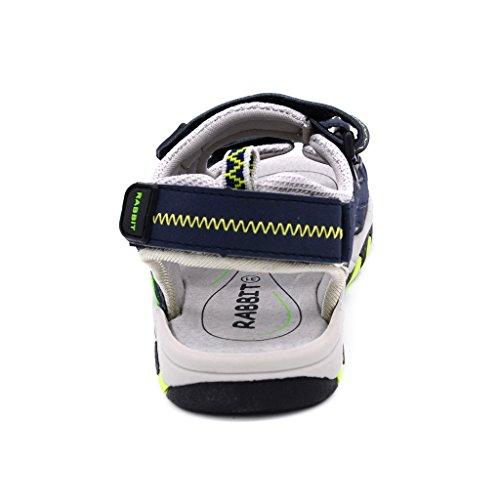 Bwiv sandalias de verano con velcro para niño forradas de piel sandalias deportivas coloridas de las tallas 25-37 EU Azul oscuro