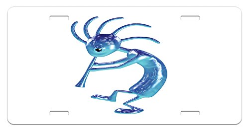Lunarable Kokopelli License Plate, Kokopelli Flute Trickster Vintage Aboriginal Tribe Art Ornament Illustration, High Gloss Aluminum Novelty Plate, 5.88 L X 11.88 W Inches, Turquoise Blue