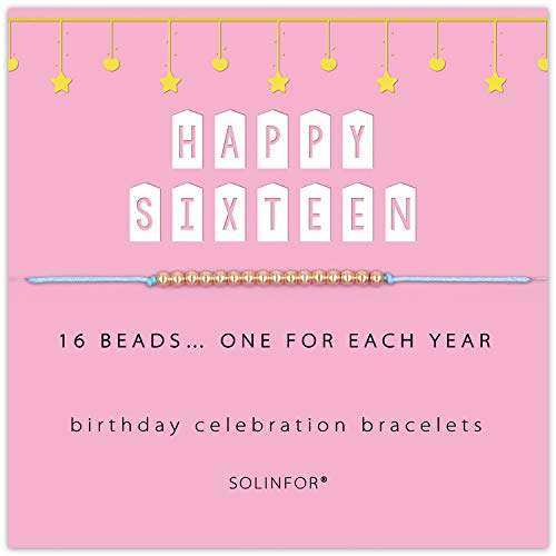 SOLINFOR 16 Year Old Gifts for Girls - 14K Gold Filled Beads Bracelet for 16th Birthday Gift - Sixteen Jewelry Gift Idea for Her