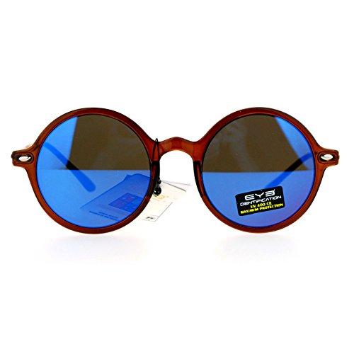 Mens Retro Trendy Flat Lens Round Circle Lens Sunglasses Brown - Guys For Sunglasses Circle