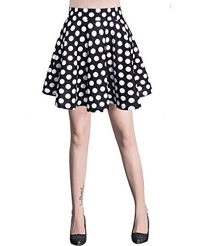 Bridesmay Jupe Patineuse Courte Mini en Polyester Plisse Black White Dot