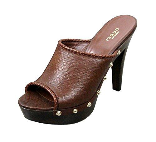 Gucci Platform Shoes (Gucci Brown Leather Diamante Platform Clogs Shoes 273659 EU 38.5 / US 8.5)