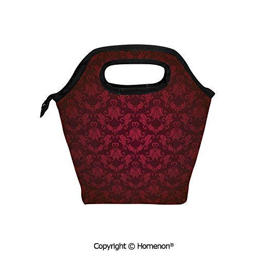 Insulated Neoprene Soft Lunch Bag Tote Handbag lunchbox,3d prited with Victorian Damask Pattern with Vignette Effect Royal Revival Ancient Rich Motifs,For School work Office Kids Lunch Box & Food Con