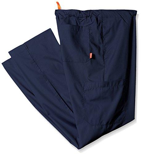 (Orange Standard Men's Big and Tall Huntington Unisex Scrub Pants with Drawstring Waist and 4 Pockets, Navy, Large)