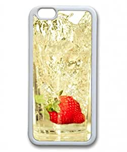 E-luckiycase TPU Supple Shell Strawberry Falling In Glass Of Water White Skin Edges for Iphone 6 Case