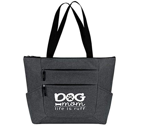 (Tote Bag for Women - Large Shopping Bags - Women Travel Totes - Great gift for her, wife, sister, mom, coworkers and more (Dog Mom Gray Premium Zip Tote))